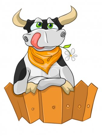 Illustration for Cartoon Character Cow Isolated on White Background. Vector. - Royalty Free Image