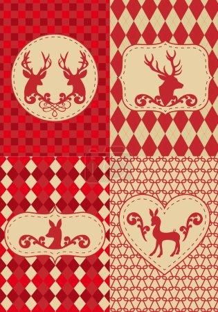 Illustration pour Modèle de Noël sans couture avec étiquettes de cerf, ensemble vectoriel - image libre de droit
