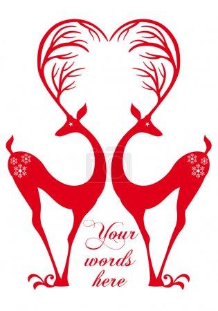 Cerfs rouges avec coeur, vecteur