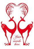 Red deers with heart vector