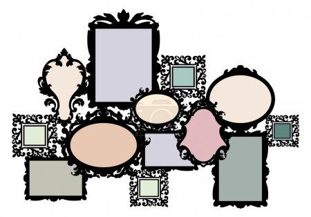 Illustration pour Ensemble de cadre photo multiple vierge, élément vectoriel de conception - image libre de droit