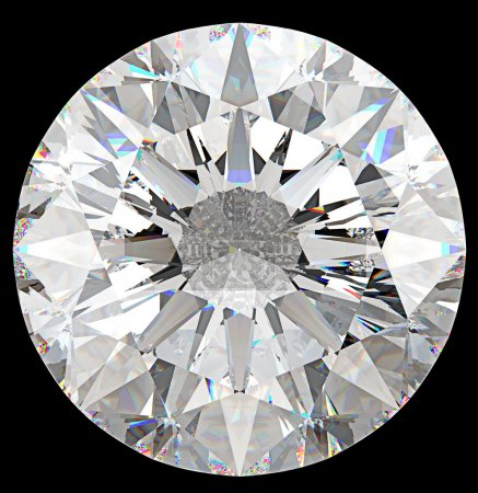 Gemstone: top view of round diamond isolated
