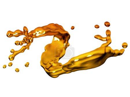 Salpicadura de oro fundido con gotas
