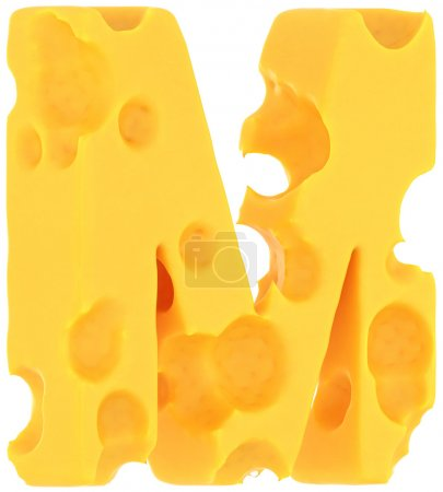 Photo for Cheeze font M letter isolated over white background - Royalty Free Image