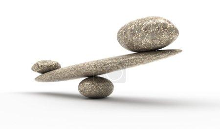 Photo pour Argument puissant : Échelles de stabilité des cailloux avec petites et grandes pierres - image libre de droit