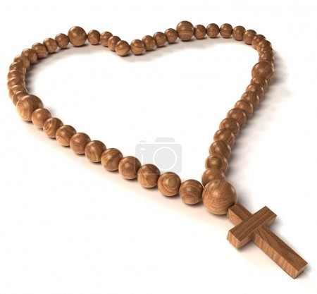 Rosary beads heart shape over white background...