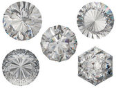 Top views of round and hexagonal diamond cuts