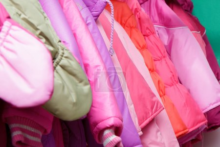 Children's outerwear in store