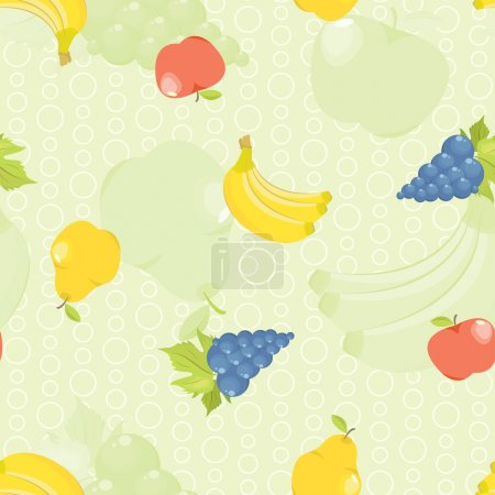 Seamless background with cartoon fruit