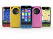 Fila di cellulare con macchina fotografica