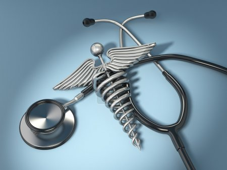 Photo for Stethoscope with symbol of medicine, caduceus. 3d - Royalty Free Image