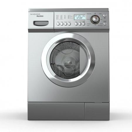 Closed washing machine on white background. 3d...