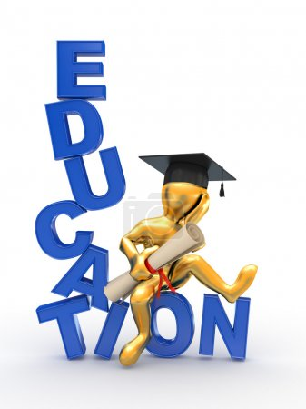 Photo for Man with diploma on text education. 3d - Royalty Free Image