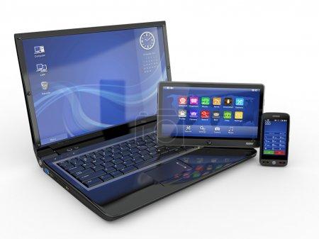 Photo pour Électronique. Ordinateur portable, téléphone portable et tablette PC. 3d - image libre de droit