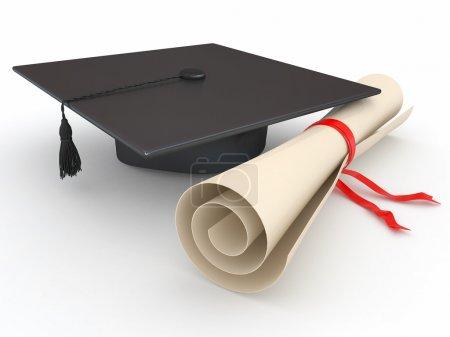 Photo pour Diplômé. Mortier et diplôme sur fond blanc. 3d - image libre de droit