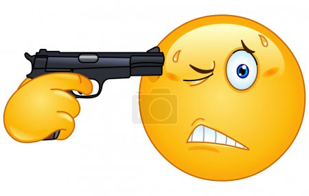 Illustration for Emoticon pointing a gun on his head - Royalty Free Image