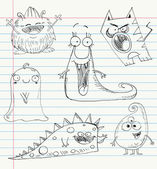 Vector monster doodles on a notebook paper Set number 1