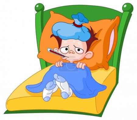 Illustration pour Enfant malade couché dans son lit - image libre de droit