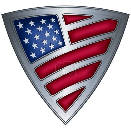 Steel shield with flag USA