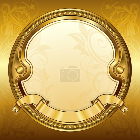 Gold vintage circle frame with ribbon
