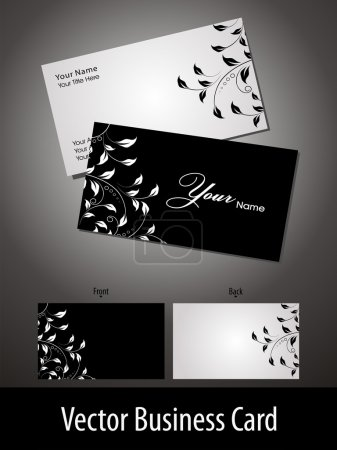 Business cards templates set of two with floral patterns