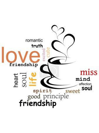 Illustration pour Fond blanc avec des mots capuchino & amour - image libre de droit