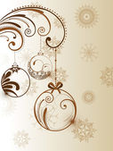 Vector Christmas ball and floral decorative abstraction backgro