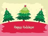 Christmas tree background greeting card for happy holidays