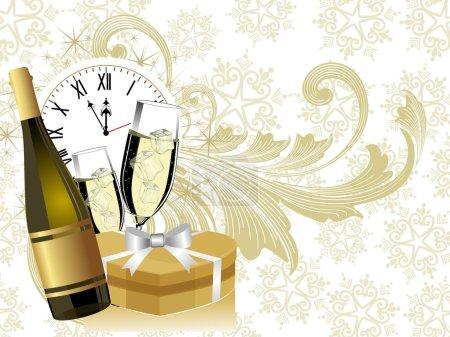 Illustration pour Nouvel an thème avec bouteille de champagne & verre ayant boîte cadeau & horloge sur fond floral doré clair pour Noël & autres occasions . - image libre de droit