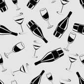 Seamless black and white pattern with champagne bottle and glas