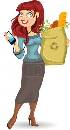 Pretty woman with the health food package and phone