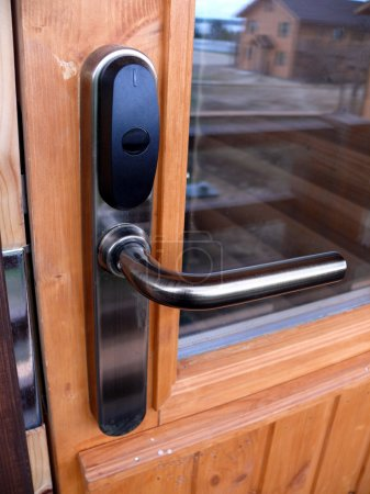 Locked door with keycard identification system