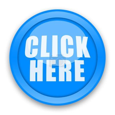 Photo pour Cliquez ici bouton bleu sur fond blanc - image libre de droit