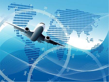 Plane on blue globe
