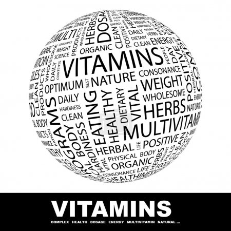 VITAMINS. Globe with different association terms.
