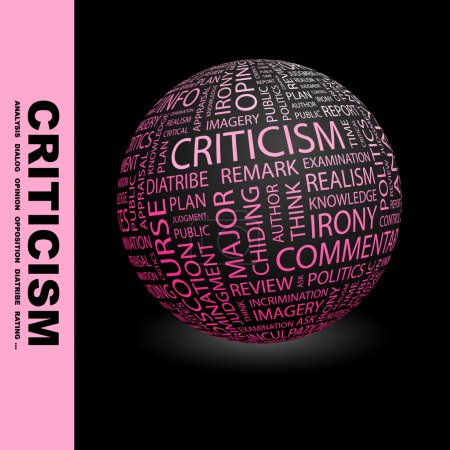 CRITICISM. Globe with different association terms.