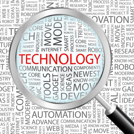 TECHNOLOGY. Magnifying glass over background with different association terms.