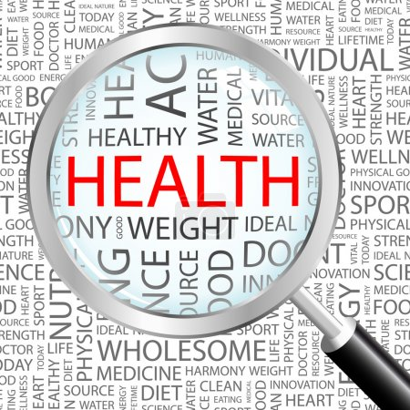 HEALTH. Magnifying glass over background with different association terms.