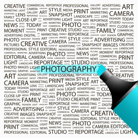PHOTOGRAPHY. Highlighter over background with different association terms.