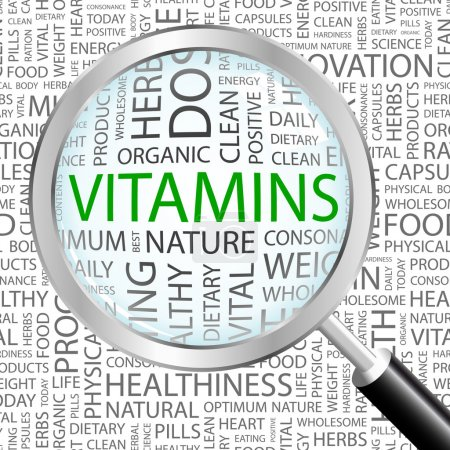 VITAMINS. Magnifying glass over seamless background with different association terms.