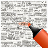SPORT Highlighter over background with different association terms Vector illustration
