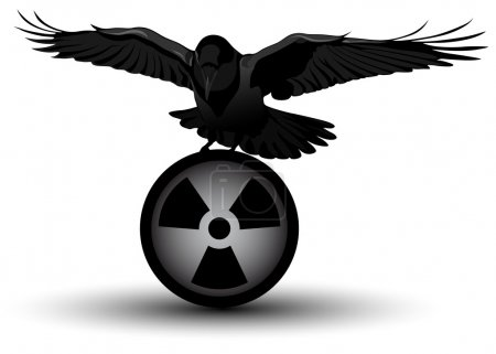 Illustration for Vector image of a raven on radiation symbol - Royalty Free Image