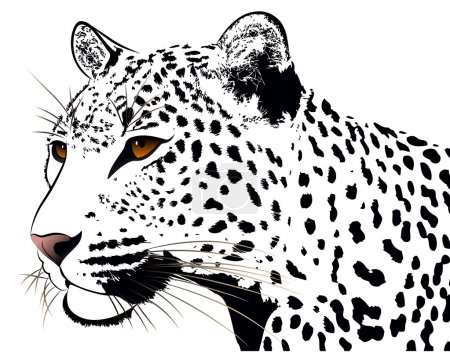 Illustration for Abstract image of a leopard executed in the form of a tattoo - Royalty Free Image