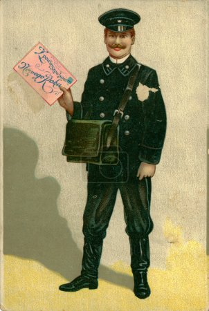 Photo for Vintage Christmas post card. Smiling postman dressed in uniform holds in his hand a big envelope greeting, circa 1908 - Royalty Free Image