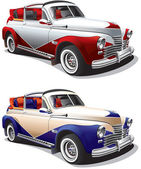 Detailed image of hot rod executed in two colors variants isolated on white background File contains gradients No blends and strokes