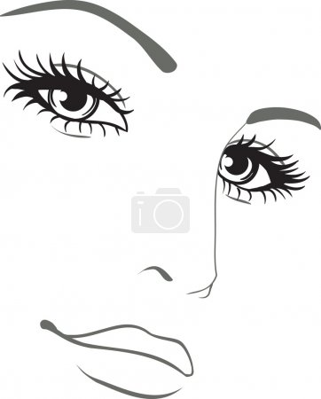 Beautiful woman face vector portrait