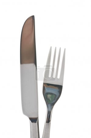 Photo for Fork and knife isolated over white background - Royalty Free Image