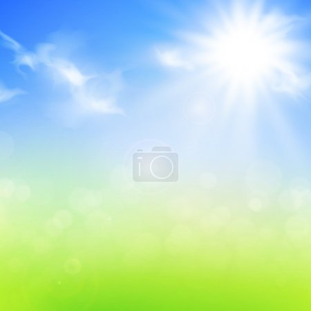 Illustration for Summer or spring background with blue sky and sun - Royalty Free Image