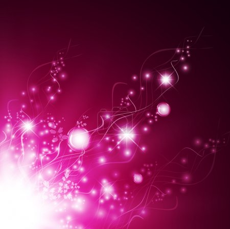 Illustration for Magic floral abstract glamorous background with bubbles and stars in pink - Royalty Free Image