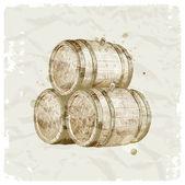 Hand drawn wooden barrels on vintage paper background